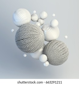 3d rendering of floating spheres. Abstract composition. Group of spheres levitate in zero gravity. Balls with knitted texture and wavy plastic surface on grey background with soft shadows