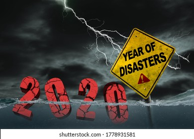 3D rendering of flooded warning sign illustrating Year 2020 disasters concept of Covid-19 pandemic, economic recession, natural disasters and severe flooding all happening in a bad year. Copy space.