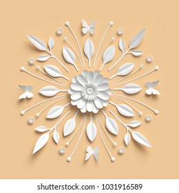 3d rendering, floral kaleidoscope, white paper flowers, symmetrical ornament, pastel yellow botanical background, papercraft