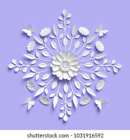 3d rendering, floral kaleidoscope, white paper flowers, symmetrical ornament, lilac botanical background, papercraft