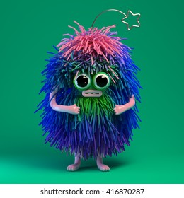 3d rendering of fluffy monster. Cute character with funny muzzle and big eyes.  Cartoon style toy with colorful gradient pink, green and blue hair.