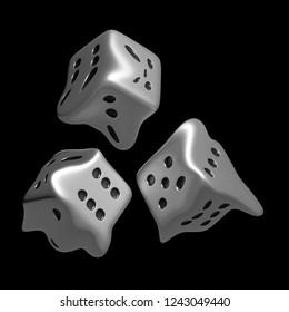 3d rendering of fluid dice, monochrome