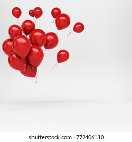 3D rendering of flying bunch of many bright red balloons. Beautiful decoration for new year, birthday, valentines day.