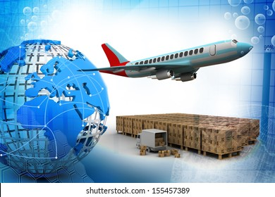 3D rendering of a flying plane, a truck, and a cargo container