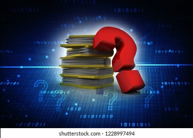 3d rendering folder with question mark
