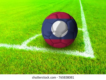 3D rendering football ball with the national flag of Laos ball with Green grass background