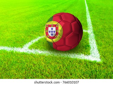 3D rendering football ball with the national flag of Portugal ball with Green grass background