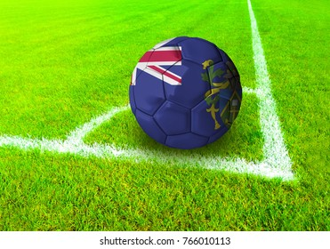 3D rendering football ball with the national flag of Pitcairn Islands ball with Green grass background