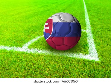 3D rendering football ball with the national flag of Slovakia ball with Green grass background