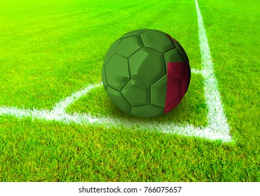 3D rendering football ball with the national flag of Iceland ball with Green grass background