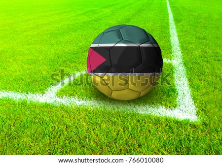3D rendering football ball with the national flag of Mozambique ball with Green grass background
