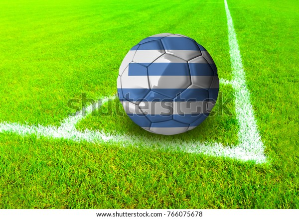 3D rendering football ball with the national flag of Uruguay ball with Green grass background