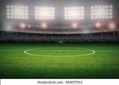 3d rendering football field with center spot and crowd stadium