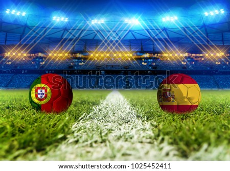 3D rendering Football. group B, Portugal VS Spain