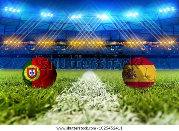 3D rendering Football. group B, Portugal VS Spain