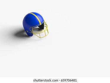 3D RENDERING OF FOOTBALL HELMET ON WHITE PLAIN BACKGROUND