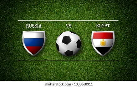 3D rendering - Football Match schedule, Russia vs Egypt, flags of countries and soccer ball