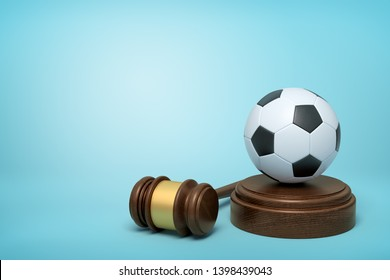 3d rendering of football on sounding block with judge gavel lying beside on light-blue background. Sport cause celebre. Football coach accused. Concussion lawsuit.