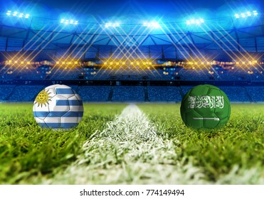 3D rendering Football Russia 2018. group A, Uruguay VS Saudi Arabia