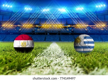 3D rendering Football Russia 2018. group A, Egypt VS Uruguay