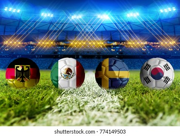 3D rendering Football Russia 2018. group F, Germany, Mexico,  Sweden, Korea Republic