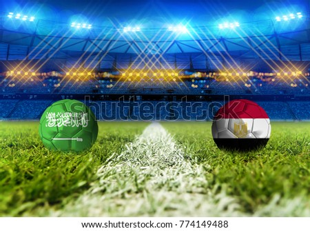 3D rendering Football Russia 2018. group A, Saudi Arabia VS Egypt
