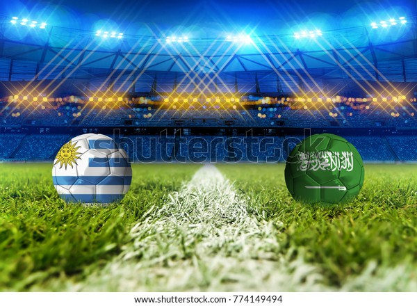 3D rendering Football Russia 2018. group A, Uruguay VS Saudi Arabia