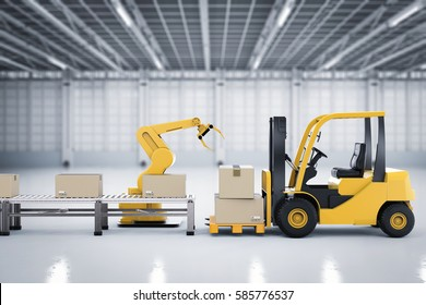 3d rendering forklift truck with robot arm and cardboard boxes