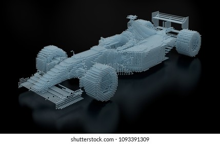 3D Rendering of a formula one car built with spheres.