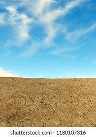3D rendering of Forth blue sky with clouds over desert landscape