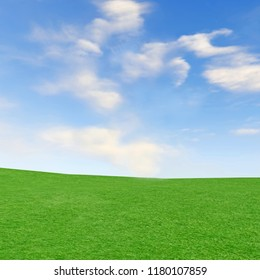 3D rendering of Forth blue sky with clouds over grass landscape