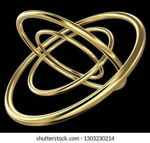 3D rendering of four concentric golden rings rotated relatively to each other, on black background.