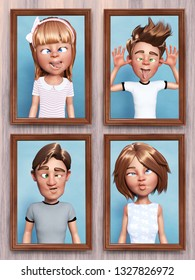3D rendering of four framed cartoon family portraits that is hanging on the wall. Everyone in the family is doing a silly face.
