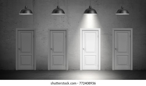 3d rendering of a four industrial lamps hang above identical doors and only one lamp lit up. Indecision. Choose best direction. Find better way.