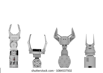 3d rendering four robotic arms or robot hands isolated on white