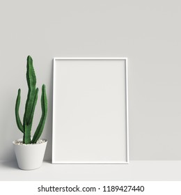 3D Rendering of Frame or Poster Mockup in Interior with Decorations