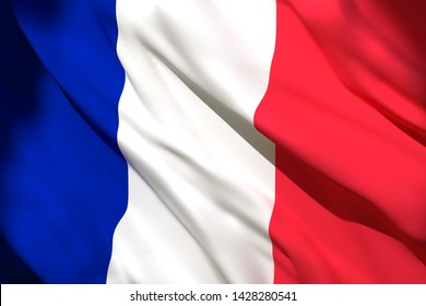 3d rendering of a France national flag waving
