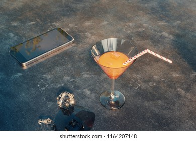 3d rendering of fresh coktail with orange juice on dusty table