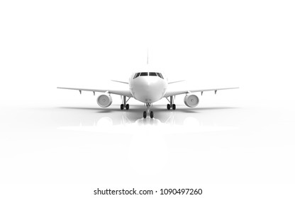 3d rendering front  a plane  On a white background