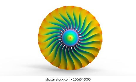 3D rendering - front view of a finite element analysis on a plane propeller-turbine
