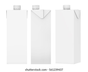 3D rendering front view, Milk and Juice Carton Package Mock-up is great for presenting.