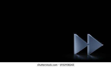 3d rendering of frosted glass symbol of fast forward symbol isolated on black background with blurry reflections on the floor