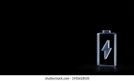 3D-Darstellung des roten gläsernen senkrechten Symbols für das Aufladen einer leeren Batterie mit Blitz einzeln auf schwarzem Hintergrund mit unscharfen Reflektionen auf dem Boden