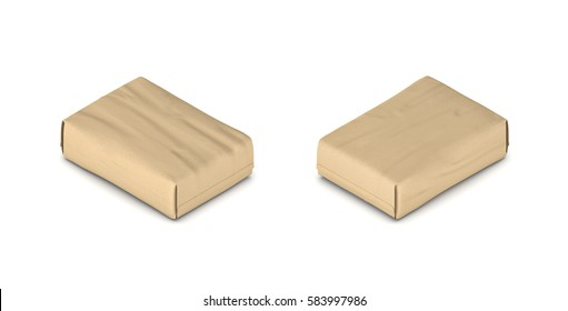 3d rendering of a full closed paper cement bag in double-sided isometric view. Construction supplies. Building. Cement and concrete.