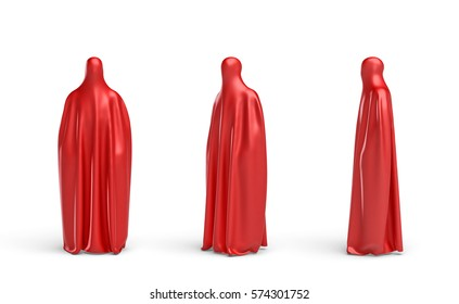 3d rendering of a full height human silhouette covered by red cloth in front, side and 45 degrees view. Ads and promotion. Marketing campaigns. Opening shows.