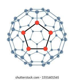 3D Rendering of Fullerene or Buckminsterfullerene Molecule with pentagon in front.