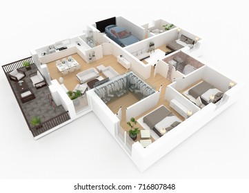 3d rendering of furnished home apartment