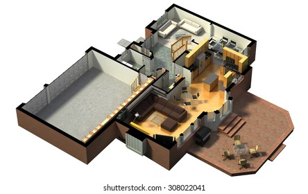 3D rendering of a furnished residential house, with the first floor plan, showing the living room, dining room, foyer, terrace and garage.