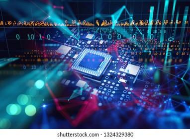 3d rendering futuristic blue circuit board background illustration