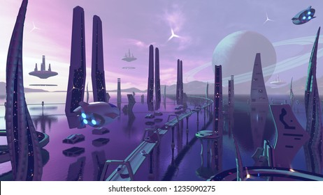 A 3D rendering of a futuristic city. The architecture in the galaxy has modern buildings in fantasy neon colors.